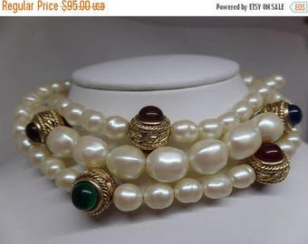 ON SALE GIVENCHY Signed Vintage Pearl and Cabochon Mogul Choker Necklace