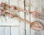 Spoon and fork wall hanging shabby cottage chic pink wooden utensil set decorated in handmade climbing roses lace decor anita spero design