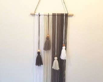 Boho Wall Hanging - Wall Tapestry - Ombre - Neutral - Tassels