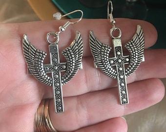 Wings on a Cross Earrings Fish Hook Earrings
