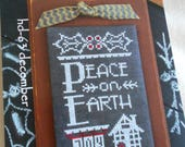 """A Yr. in Chalk -Dec. """"Peace on Earth"""" by Hands On Design for Cross Stitch"""