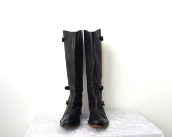 WOMENS LONG BOOTS Brown Boots Womens Motorcycle Boots Vintage Brown Womens Boots Rocker Brown Boots Rocker Boots Genuine Leather Boots