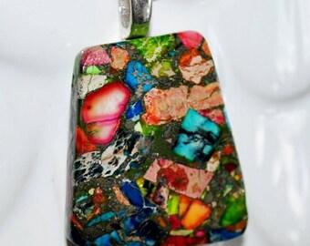 Unique Multi Color Sea Sediment Jasper & Pyrite Pendent  Necklace