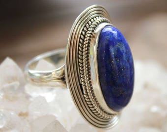 Blue lapis lazuli stone and silver ring