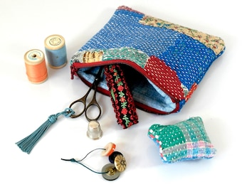 sewing kit, travel sewing kit, kantha pouch with sewing accessories, kantha purse, kantha
