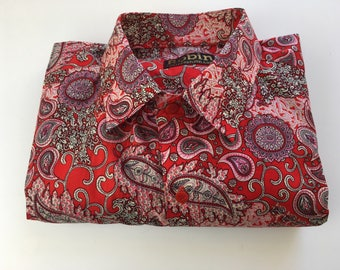 Men's shirt paisley print reds pinks  Long sleeves best softest Egyptian cotton