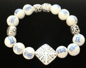 Vintage Asian Symbol Beads with Silver Stretch Bracelet