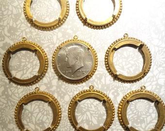 8 Brasscoated Kennedy Half Dollar Coin Holder Coin Bezel Pendants