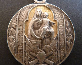 Antique French Religious   silver  Medal   Our Lady of the Armies Pendant charm Jewelry collectible