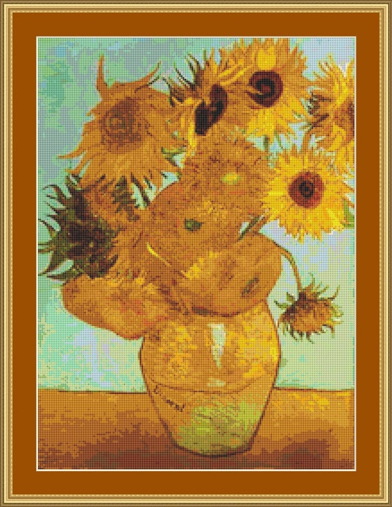 Twelve Sunflowers In A Vase Cross Stitch Pattern /Digital PDF Files /Instant downloadable