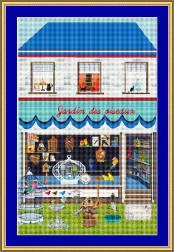 Cats At The Bird Shop Cross Stitch Pattern /Digital PDF Files /Instant downloadable