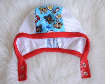 LilNells Hat for Babies with Hearing Aids, Mesh Hat, Hat with Snaps,Pilot Hat with Mesh Sides,Hearing aid Hat,Pilot Cap, Paw Patrol Hat