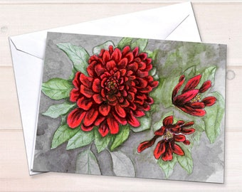 Chrysanthemum notecards, Watercolor notecards, autumn stationery, harvest stationery, autumn garden, personal stationery set, fall notecards