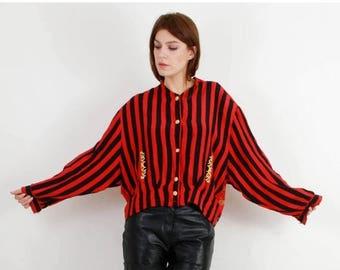 SALE Vintage Moncara Red Striped Drums Button Up Shirt