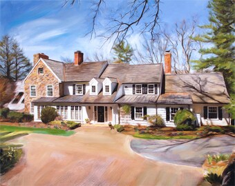 Housewarming Gift - Custom Home Portrait from Photo - Custom Painting - Custom Art