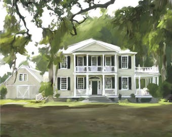 Custom Home Portrait - Fine Art Oil Painting on Canvas Hand Painted & Stretched 20x24