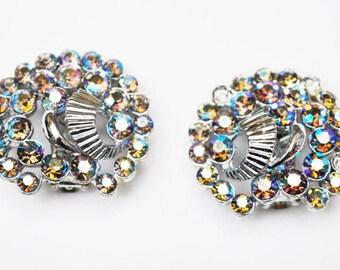 Rhinestone Earrings - Signed  Claudette - Aurora Borealis  - Mid Century - Clip On Earrings