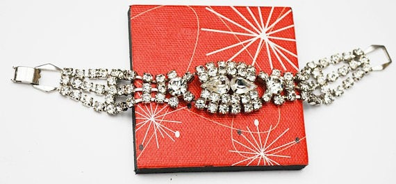 Rhinestone Bracelet - Bling glitz hollywood glamour - Clear Rhinestone crystal - Tennis bracelet
