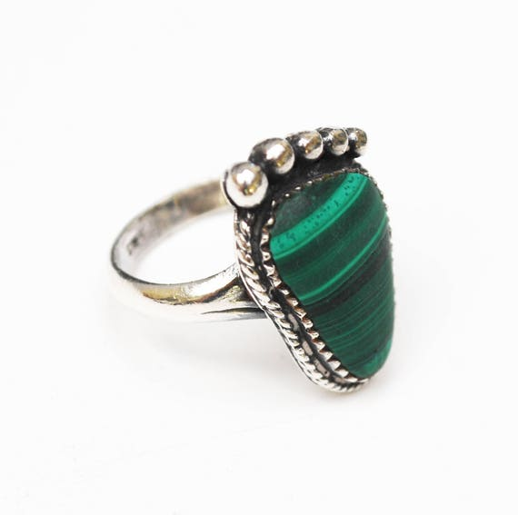Sterling Malachite Ring - Foot - Green Gemstone - Size 9 ring - bare foot ring