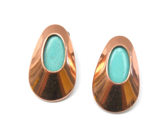 Copper Leaf  Earrings - Blue  Enamel and Copper Leaf  - Signed Matisse -Mid Century - modern coned