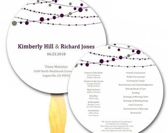 ON SALE String of Lights Circle Wedding Paper Ceremony Program Hand Fan Purple and White, Elegant Wedding , Outdoors Event Paddle Wood Craft