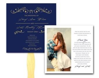 Summer Sale Blue and Gold Scrolls Wedding Ceremony Program Fan - Set Printed, Affordable Hand Fans, Elegant, Programs, Paper Fan