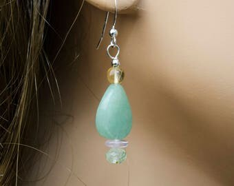 Green Aventurine Twist Dangle Earrings w Citrine, Rose Quartz, Prehnite, Sterling Silver, Genuine Gemstone Earrings, Natural Stone Earrings