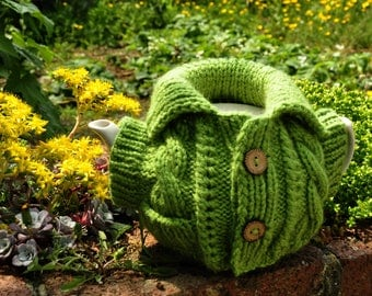 Gift for grandma kitchen Spring green Tea Cosy knitted pattern gift Easy knitted gift Sweater tea cozy Funny knitted gift Easy pattern