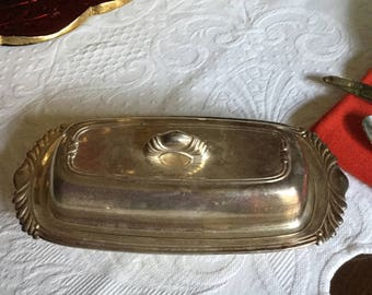 Vintage Home Decorators Inc Ornate Silverplate Butter Dish and Lid with Glass Insert-Finial/Serving/Table