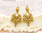 Victorian Shell Floral Raw Brass Chandelier Earring Connectors 4 rings - 4