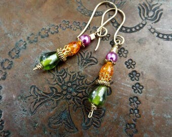Colorful Linear Earrings Brass Czech Glass and Pearl in AB Green Purple and Orange