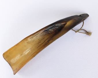 Antique horn shoe horn, Natural horn, Edwardian
