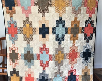 Lap, throw, couch, scrappy patchwork quilt blanket Autumn colors orange red gold navy floral fall decor southwestern