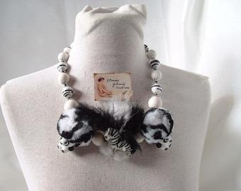 Necklace fashion trendy ethnic black and white Zebra