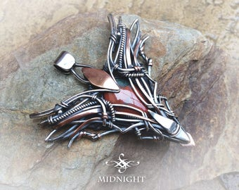 """Bloodstone Pendant Wire Wrap and forged in Sterling Silver and Copper Fantasy Pendant - """"ROGUE ANGEL""""  (FE19)"""