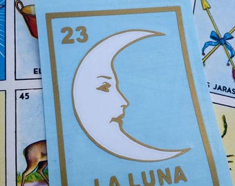 LA LUNA LOTERIA The Moon Vinyl Double Layered Sticker Decal Car, Wall, Planner Decal