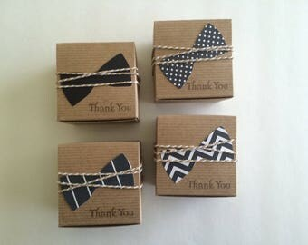 35 bow tie favor boxes  Little man Little Gentleman baby shower black and white  bow ties