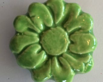 FLOWER Magnet - APPLE GREEN Art Glaze - Ceramic - Inspirational Art Piece by Inner Art Peace