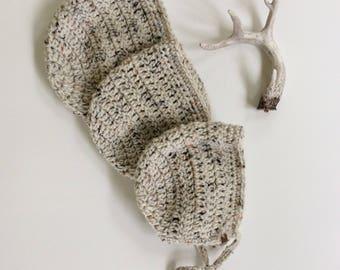 6-12 months, Oatmeal Crocheted Bonnet