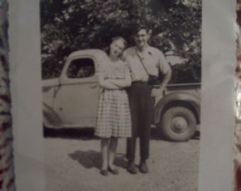 Old Photograph Couple in Front of Old Truck/ Vintage Photography/ Black and White Photograph