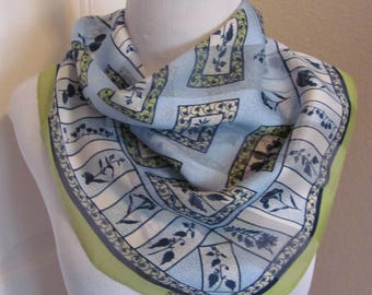 "Symphony Scarf Blue Green Soft Poly Scarf 20"" Square - Affordable Scarves!!!"