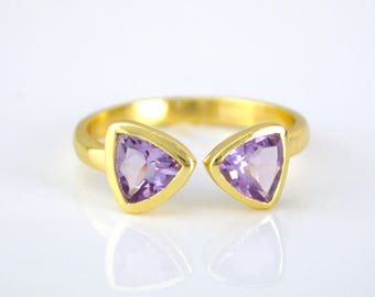 February Birthstone Ring, Purple Amethyst ring, adjustable ring mothers ring triangle ring geometric ring dual birthstone ring double stone