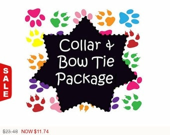Sale - 50% Off Collar and Bow-Tie Package!, Dog Collar Set, Dog Bow-Tie Set - Available in all Dog Collar Listings -