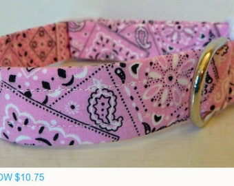 """Sale - 50% Off Pink Bandana Dog Collar - Light Pink, Black & White -""""Lorrie""""- Free Colored Buckles"""
