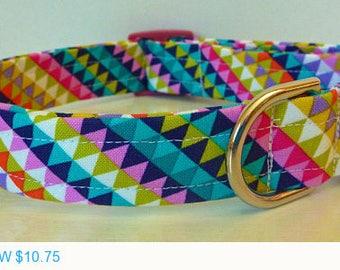 "Sale - 50% Off Dog Collar - Colorful Modern Geometric Dog Collar ""Jewell"" - Free Colored Buckles"