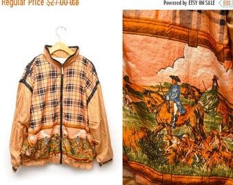 ON SALE 80s Plaid Equestrian Patterned Windbreaker Zip Up Jacket Medium
