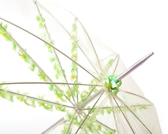 60s Clear Umbrella Flower Trim Mint Green Hong Kong Vintage Fun Dainty