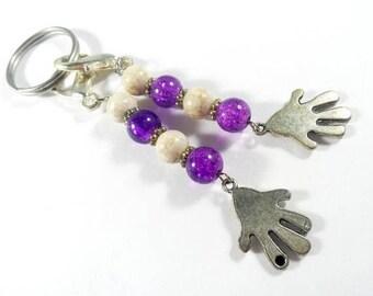 Hand Charm Purple Keychain,  Zipper Pull Purse Clip, Zipper Pull Charm, Keychain Charms, Stitch Marker Key Chain, Keychain Accessory