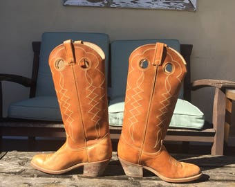 Acme Vintage Caramel Brown Western Cowgirl Boots size 6m ladies