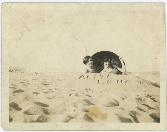 "Vintage Snapshot Photo: Alma & Lena. ""I'm hiding behind this sand pile to try to hide my 'figgah'....."" (75584)"